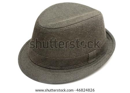One fashin hat made of dark denim isolated in white - stock photo