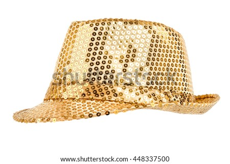 one festively shining gold or yellow hat, from one side, on white background; isolated