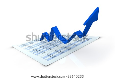 one financial chart growing with a spreadsheet under it (3d render) - stock photo