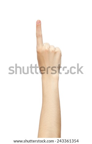 one finger hand isolated on white background. pushing or pointing studio photo