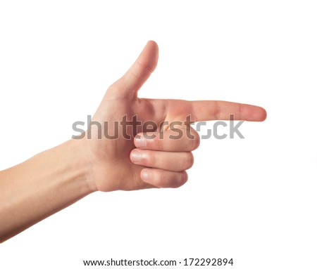One finger pointing - stock photo