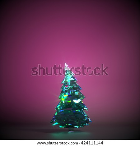 One fir tree made of emerald crystal against purple background. 3D illustration - stock photo