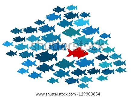 One fish swim in opposite direction, dare to be different concept - stock photo