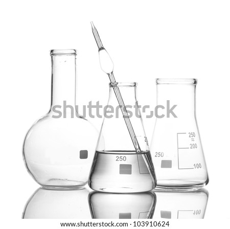 One flask with water and two empty flasks with reflection isolated on white