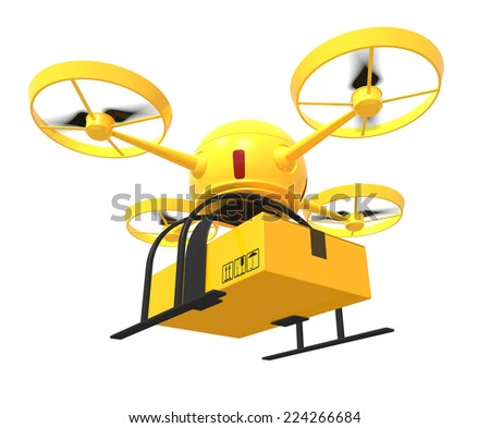 One flying drone carrying a carton box (3d render) - stock photo