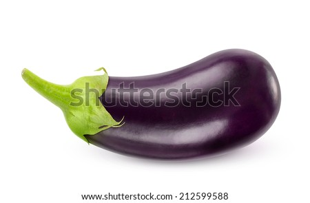 One fresh eggplant over white background, with clipping path - stock photo
