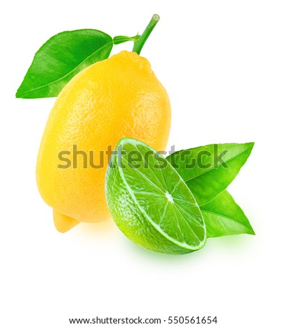 One fresh lemon with leaf and slice of lime isolated on white background