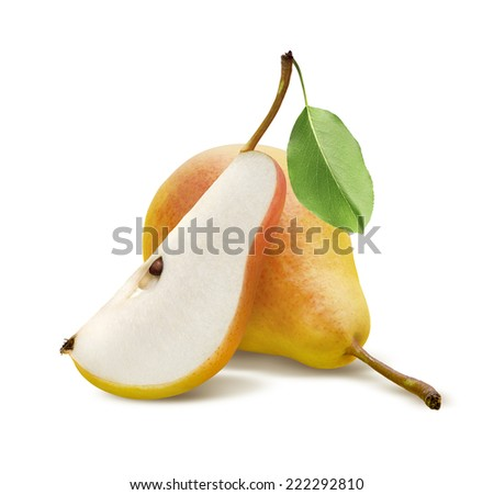 One fresh pear and quarter piece isolated on white background as package design element - stock photo