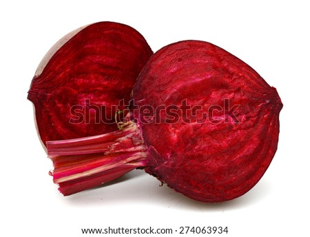 one fresh red beetroot cut in half on white background