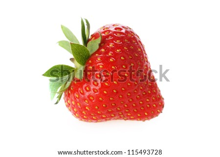 one  fresh red strawberry with leaves - stock photo