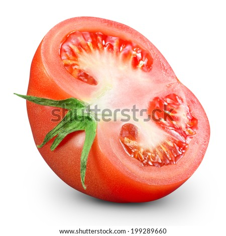 one fresh red tomato isolated. Clipping Path  - stock photo