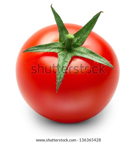 one fresh red tomato isolated on white - stock photo
