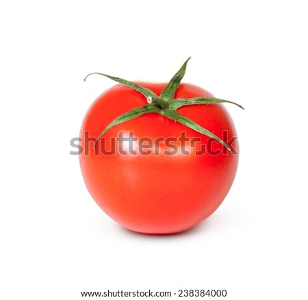 One Fresh Red Tomato Isolated On White Background - stock photo