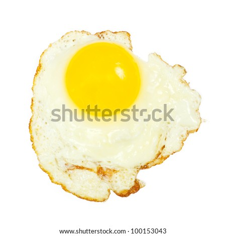 One fried egg isolated on white background