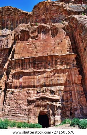 One from Royals Tombs in Petra, Jordan - stock photo