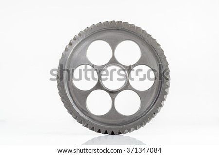 one gear spiral teeth on isolated background