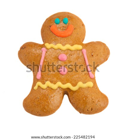 one Gingerbread man isolated on white background - stock photo