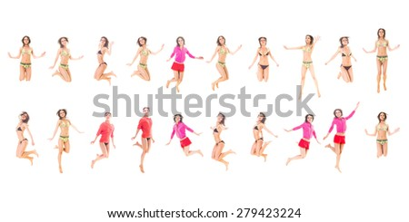 One Girl Team Many of the same Model  - stock photo