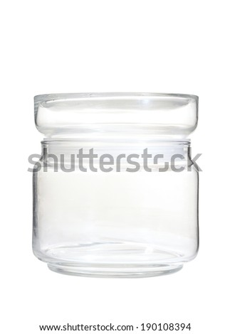 one glass bottle on white background
