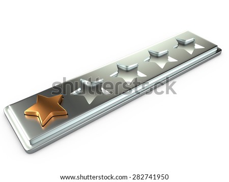 One gold star for ranking, 3D - stock photo