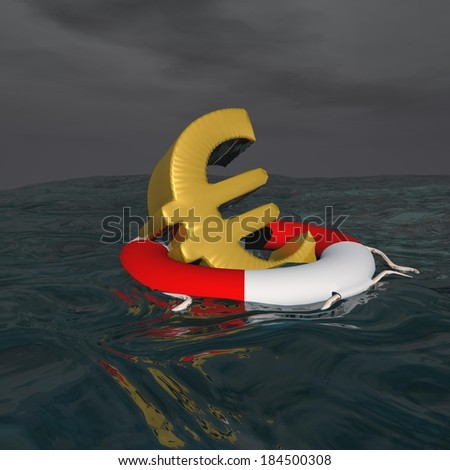 One golden euro floating on a buoy onto the ocean - stock photo