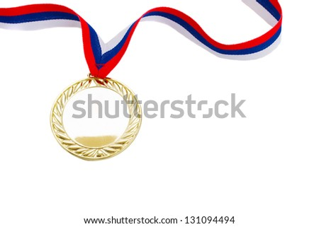 one golden medal close up  isolated on white background