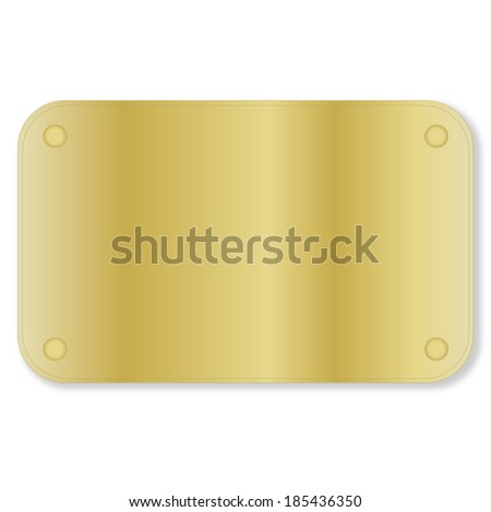 One golden plate isolated in white background