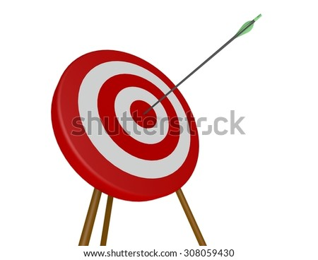 One green arrow shot into the bulls-eye of a red and white archery target - stock photo