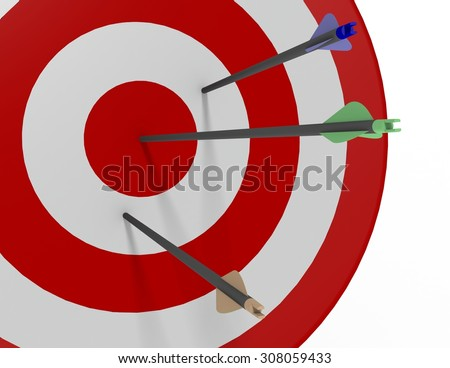 One green arrow shot into the bulls-eye of a red and white archery target with one blue and one brown arrow missing the bulls-eye