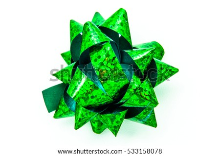 One green bow on a white background