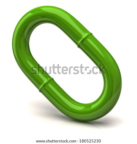 One green chain link isolated on white background - stock photo