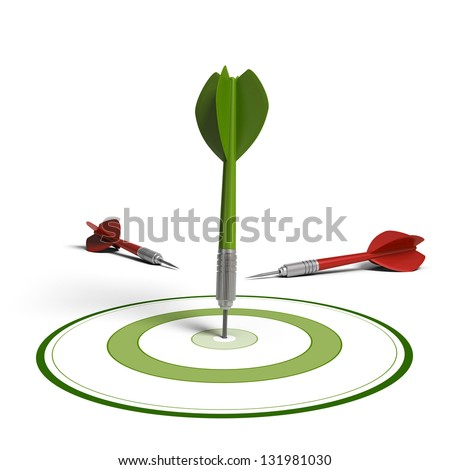 One green dart hit the center of the dartboard and two red darts failed to hit the objective, white background, improving results concept - stock photo