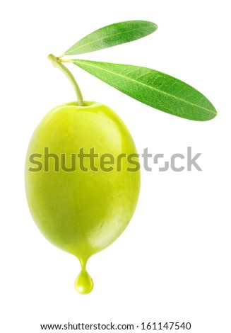 One green olive with drop of oil isolated on white - stock photo