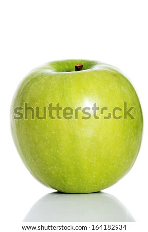 One green separated apple on white background. - stock photo