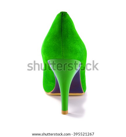 One green shoe is isolated on a white background