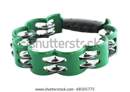 One green tambourine isolated on white background