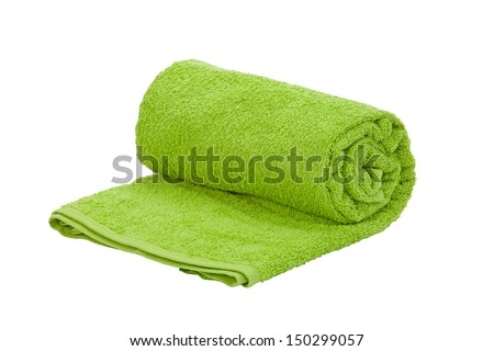 One green towel roll on a white background