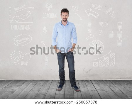 one guy with casual clothes expert in finance - stock photo