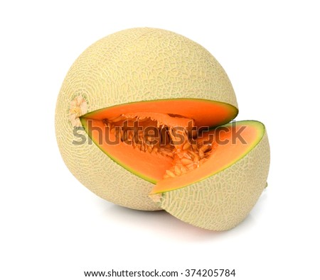 One half and four slices of a Galia Melon isolated on white Background