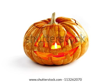 One halloween pumpkin on isolated white background. - stock photo