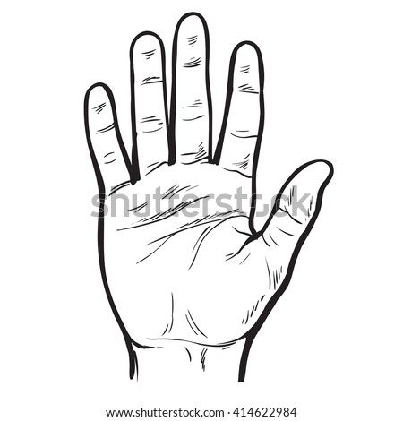 One hand. Hand showing five fingers. A welcome gesture. Stopping gesture. stop character. Opened palm of the hand. Painted hand. Contour arm. Illustration of five fingers, hand palm, hand 5, hand man - stock photo