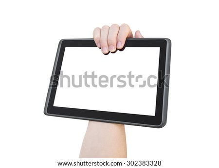 One hand holding big ten inch screen tablet PC, isolated, clipping path - stock photo