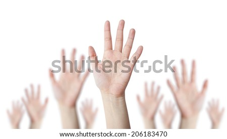 One hand leader with blur hand behind business concept - stock photo