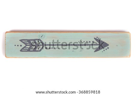 One hand painted arrow on a wooden plank on a white background - stock photo