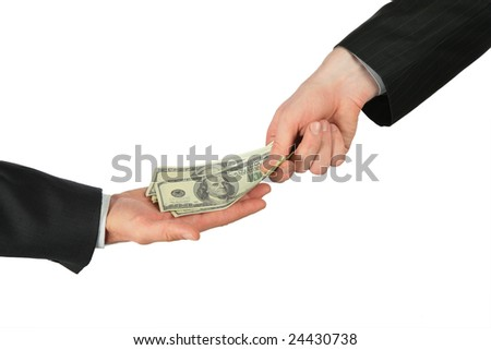 One hand places dollars into another