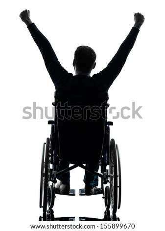 one handicapped man arms raised  rear view in silhouette studio  on white background - stock photo