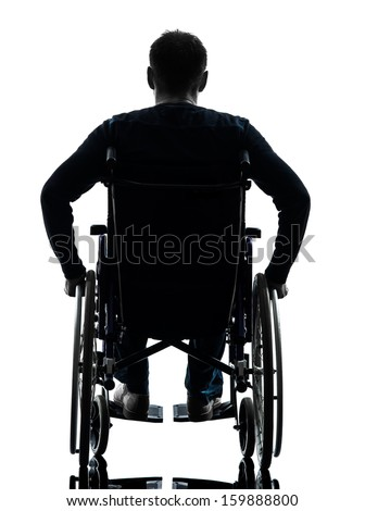 one handicapped man rear view in silhouette studio  on white background - stock photo