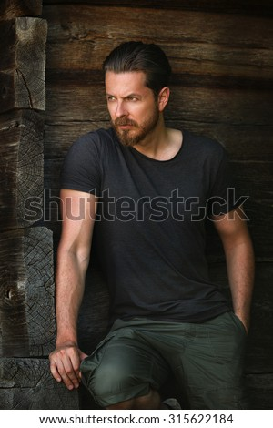 One handsome sexy young man posing fashion - stock photo