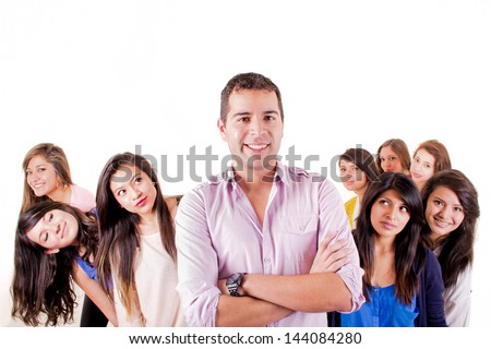 One happy man with a group of eight woman - stock photo