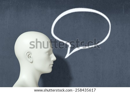 one head with speech bubble, concept of speaking (3d render)